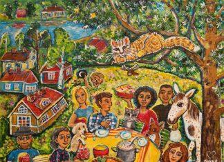 Pirkko Pullinen-Valtosen värikäs maalaus eläinten ja ihmisten nyyttäreistä on kesänäyttelyn 2020 julistekuva.