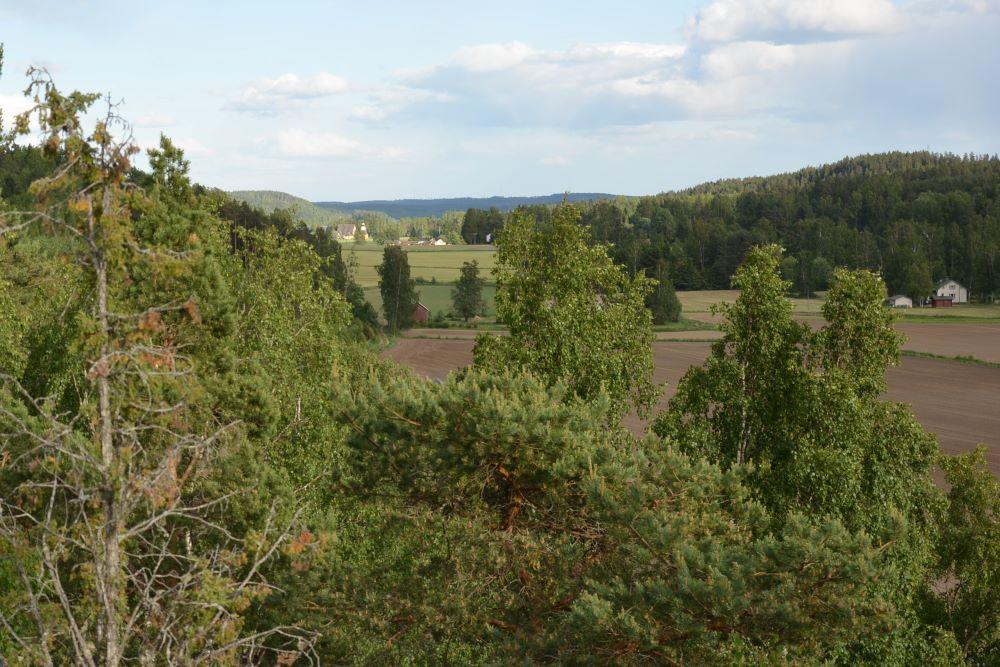 Laurinkallion laelta maisema Tuuloksen kirkolle.